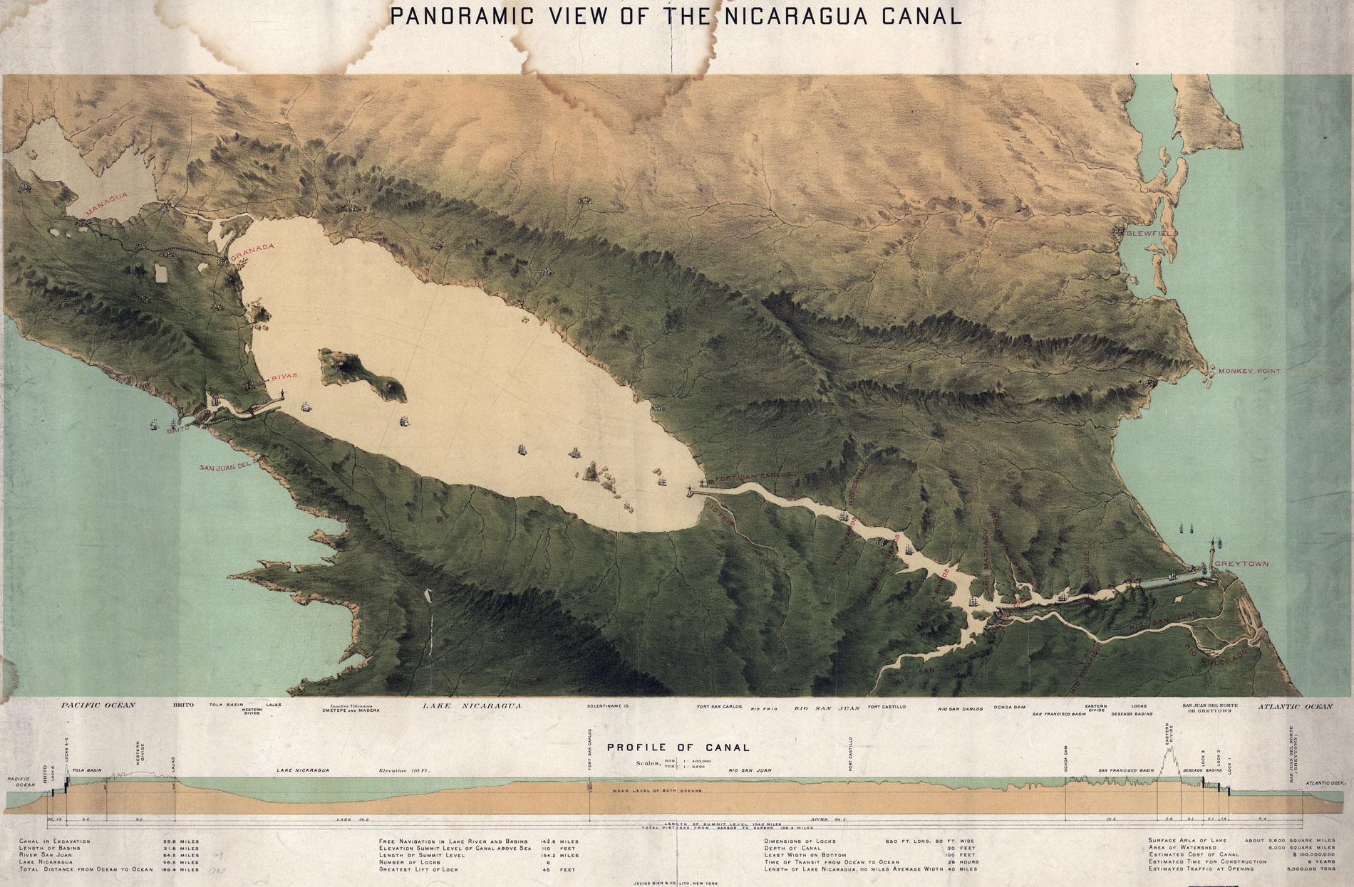 Karte: historisches Kanalprojekt 1870